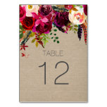 Burgundy Floral Wedding Reception table sign 3979 Card