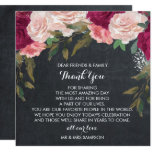 burgundy floral wedding thank you reception card