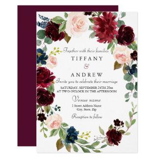 Burgundy Floral Wreath Modern Elegant Wedding Invitation