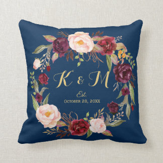 Burgundy Floral Wreath Navy Blue Wedding Monogram Throw Pillow