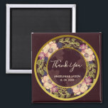 """Burgundy Floral Wreath Wedding Favor Magnet<br><div class=""""desc"""">Burgundy Floral Wreath Wedding Favor Magnet. Moody romantic,  dark colors,  trendy,  elegant,  stylish. Unique floral - design,  hand drawn,  placed only on some Zazzle products.</div>"""