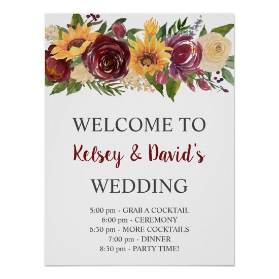 Burgundy Floral Yellow Sunflowers Wedding Welcome Poster