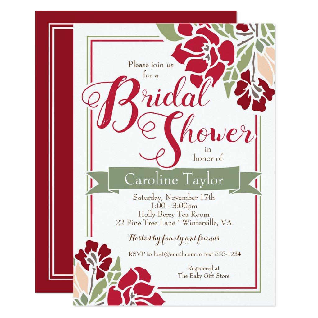 Burgundy Florals Bridal Shower Invitation