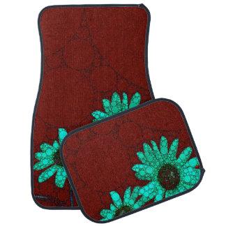 Burgundy Florescent Turquoise Flowers Car Mat