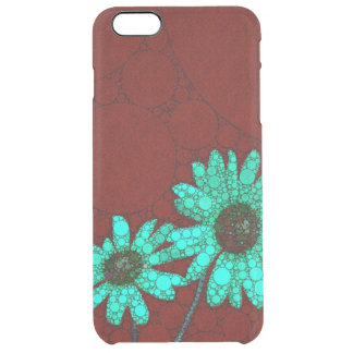 Burgundy Florescent Turquoise Flowers Clear iPhone 6 Plus Case