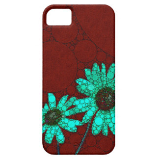 Burgundy Florescent Turquoise Flowers iPhone SE/5/5s Case