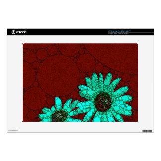 Burgundy Florescent Turquoise Flowers Laptop Skins