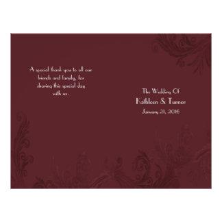 Burgundy Flourish Wedding Program