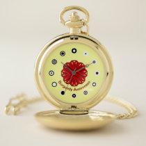 Burgundy Flower Ribbon (Bf) by K Yoncich Pocket Watch