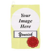 Burgundy Flower Ribbon by Kenneth Yoncich Golf Towel