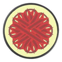 Burgundy Flower Ribbon by Kenneth Yoncich Hockey Puck