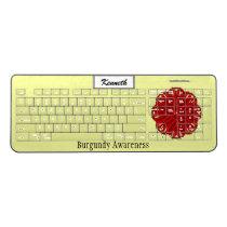 Burgundy Flower Ribbon by Kenneth Yoncich Wireless Keyboard