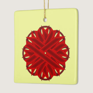 Burgundy Flower Ribbon Ceramic Ornament