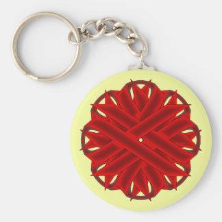 Burgundy Flower Ribbon Keychain