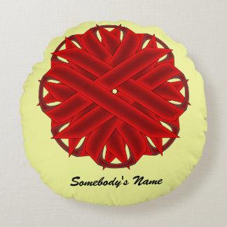 Burgundy Flower Ribbon Round Pillow