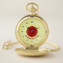 Burgundy Flower Ribbon (Mf) by K Yoncich Pocket Watch