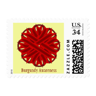 Burgundy Flower Ribbon Postage