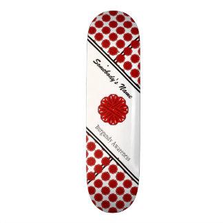 Burgundy Flower Ribbon Skateboard Deck