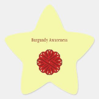 Burgundy Flower Ribbon Star Sticker
