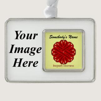 Burgundy Flower Ribbon Template (H-I) Christmas Ornament