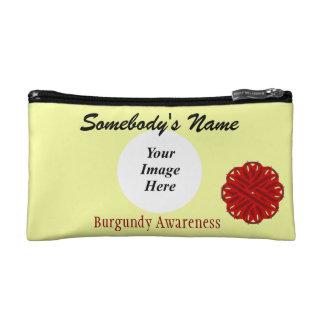 Burgundy Flower Ribbon Template Makeup Bag