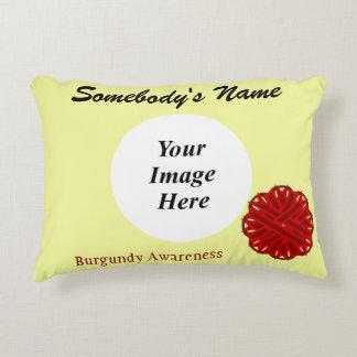 Burgundy Flower Ribbon Template Accent Pillow