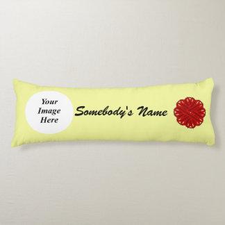 Burgundy Flower Ribbon Template Body Pillow