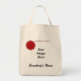 Burgundy Flower Ribbon Template Tote Bag