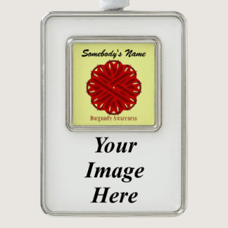 Burgundy Flower Ribbon Template (V-I) Christmas Ornament