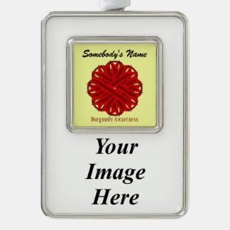 Burgundy Flower Ribbon Template (V-I) Silver Plated Framed Ornament