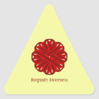 Burgundy Flower Ribbon Triangle Sticker