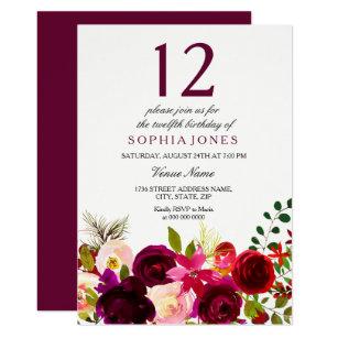 Burgundy Flowers 12th Birthday Party Invite