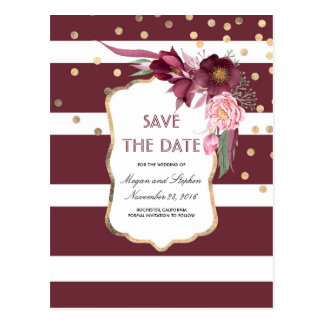Burgundy Flowers and Gold Confetti Save the Date Postcard