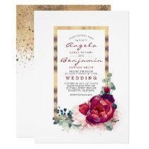 Burgundy Flowers and Modern Gold Frame Wedding Invitation