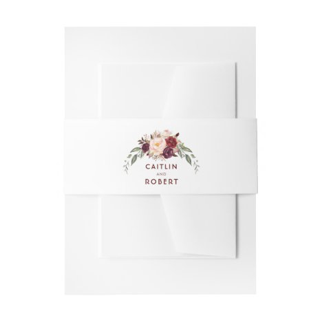 Burgundy Flowers Elegant Invitation Belly Band