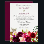"Burgundy Flowers Floral Elegant Wedding Invitation<br><div class=""desc"">Burgundy Flowers Floral Elegant Wedding Invitation Matching collection in Niche and Nest store.  Boho chic burgundy red white watercolor floral Beautiful hand painted watercolor illustration</div>"