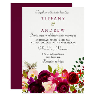 Burgundy Flowers Floral Elegant Wedding Invitation