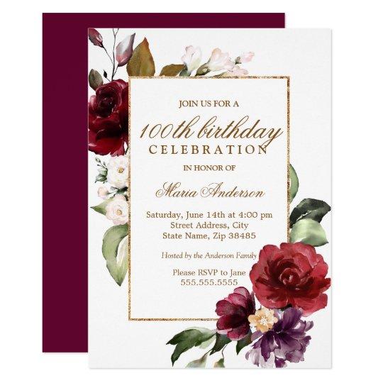 burgundy flowers gold border 100th birthday party invitation