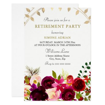 Wedding Themed Burgundy Flowers Gold Leaf Retirement Party Card