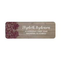 Burgundy Flowers Lace Rustic Label