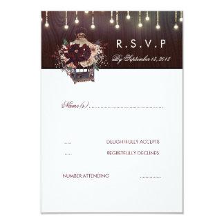 Burgundy Flowers Lanter Rustic Wedding RSVP Card
