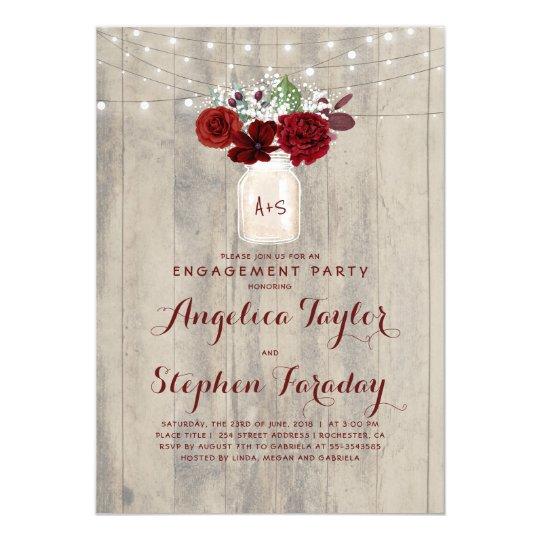 Rustic Mason Jar Floral Wedding Invitations Burgundy: Rustic Engagement Party Invitations