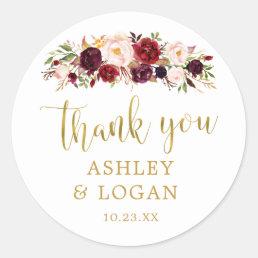Burgundy Flowers Monogram Wedding Favor Sticker