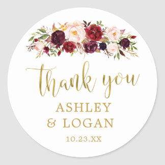 Burgundy Flowers Monogram Wedding Favor Sticker