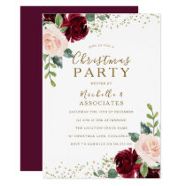 Burgundy Flowers Office Family Christmas Party Invitation