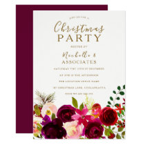 Burgundy Flowers Office Work Christmas Party Invitation