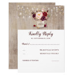 Burgundy Flowers Rustic Rsvp Card at Zazzle