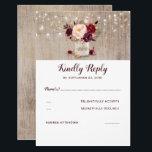 "Burgundy Flowers Rustic RSVP Card<br><div class=""desc"">Marsala flowers mason jar and string lights rustic wedding reply cards</div>"