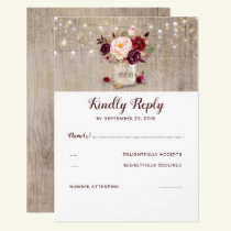 Burgundy Flowers Rustic RSVP Card