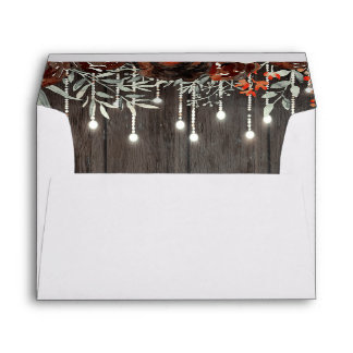 Burgundy Flowers Rustic Wood String Lights Envelope